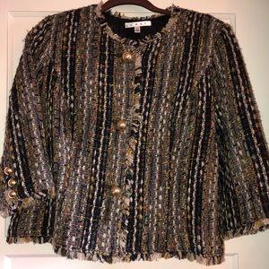 Black/Multicolored Tweed Blazer